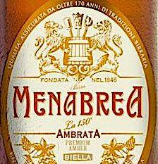 l'etichetta della birra Menabrea Ambrata 150°